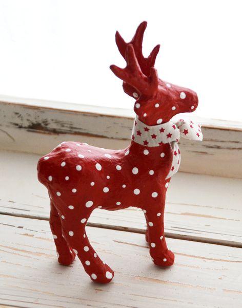 weihnachtsdeko elch rot wei gepunktet ein. Black Bedroom Furniture Sets. Home Design Ideas