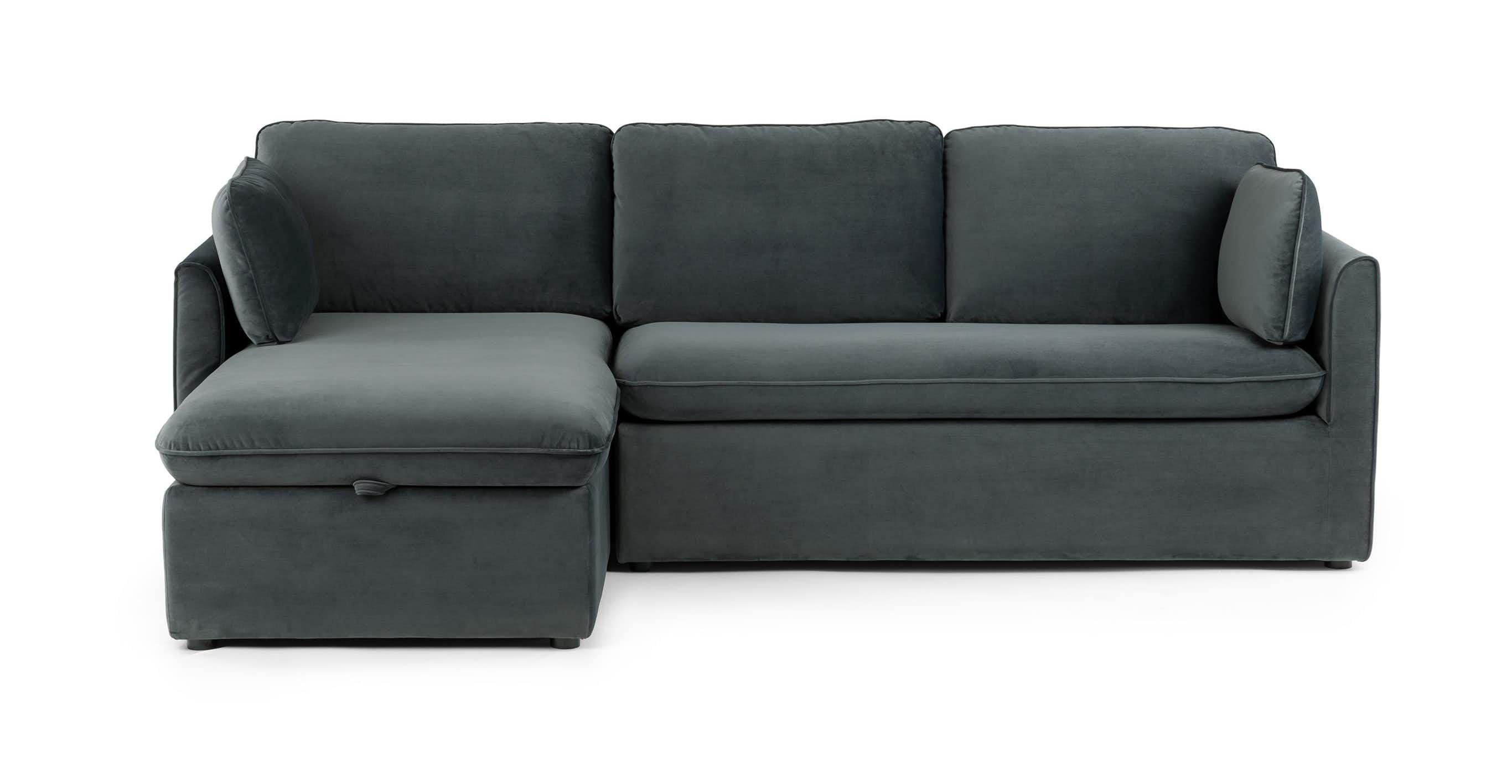 Blue Gray Velvet Sofa Bed Left Sectional Article Oneira Modern