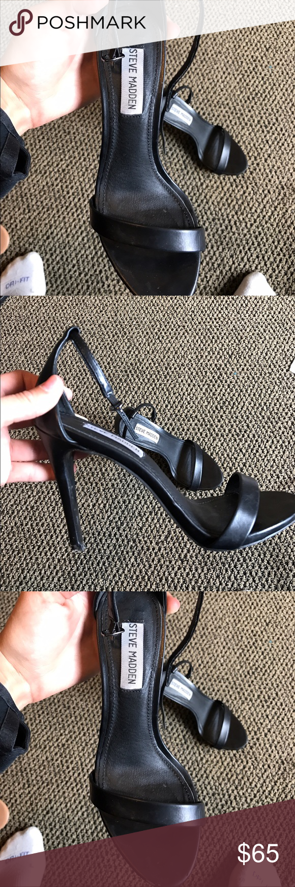 Steve Madden Stecy Heel Size women's 7, black leather. Worn 4 times. Steve Madden Shoes Heels