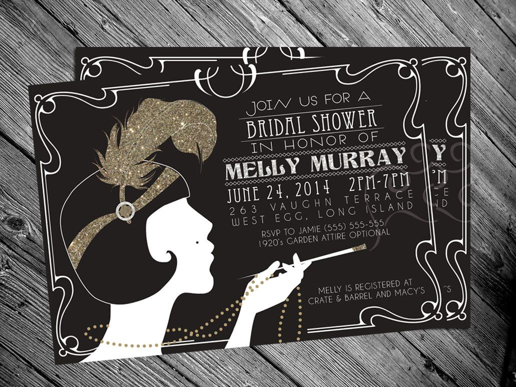 S Gatsby Flapper Bridal Shower Invitation By MrsInvitation - 1920s party invitation template
