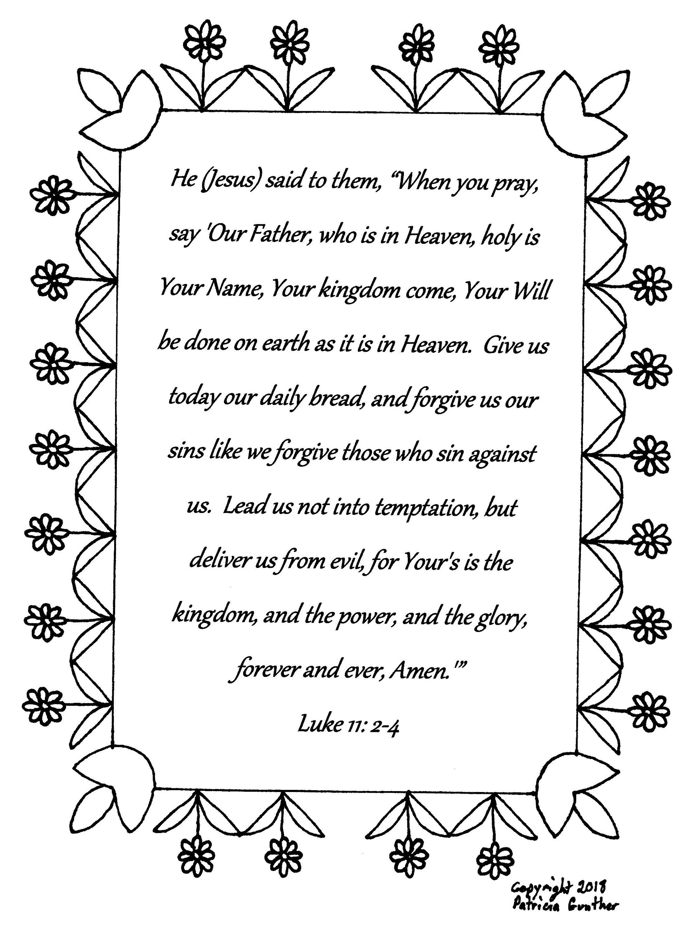 The Lord S Prayer Luke 11 2 4 Bible Verse Coloring Page Download By Horsefeathernuggets On Et Bible Verse Coloring Page Bible Verse Coloring The Lords Prayer