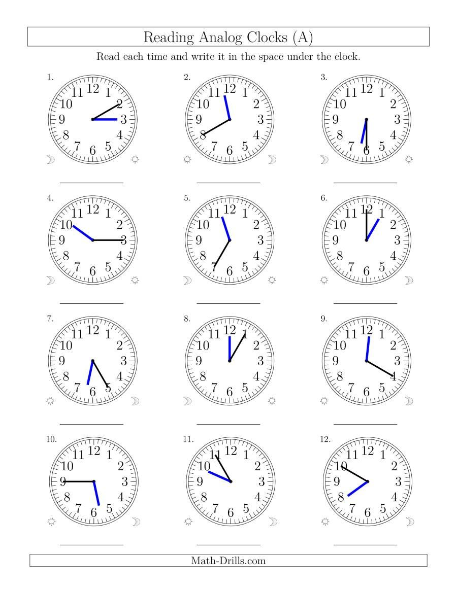 The Reading Time On 12 Hour Analog Clocks In 5 Minute Intervals A Math Worksheet Time Worksheets Clock Worksheets 1st Grade Math Worksheets