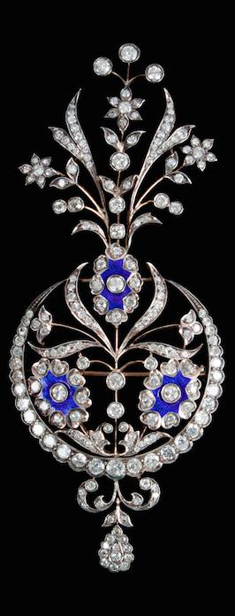 Diamond, enamel, silver and gold aigrette.