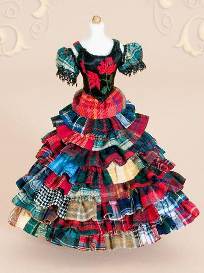 "KO/201 Mannequin, ""Tartan"" dress,  scale 1 : 12, made by Will Werson."