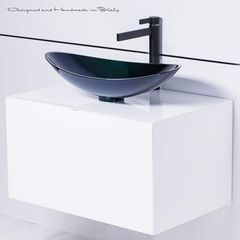 Photo of Modern Italian Black and white bathroom fixture selection
