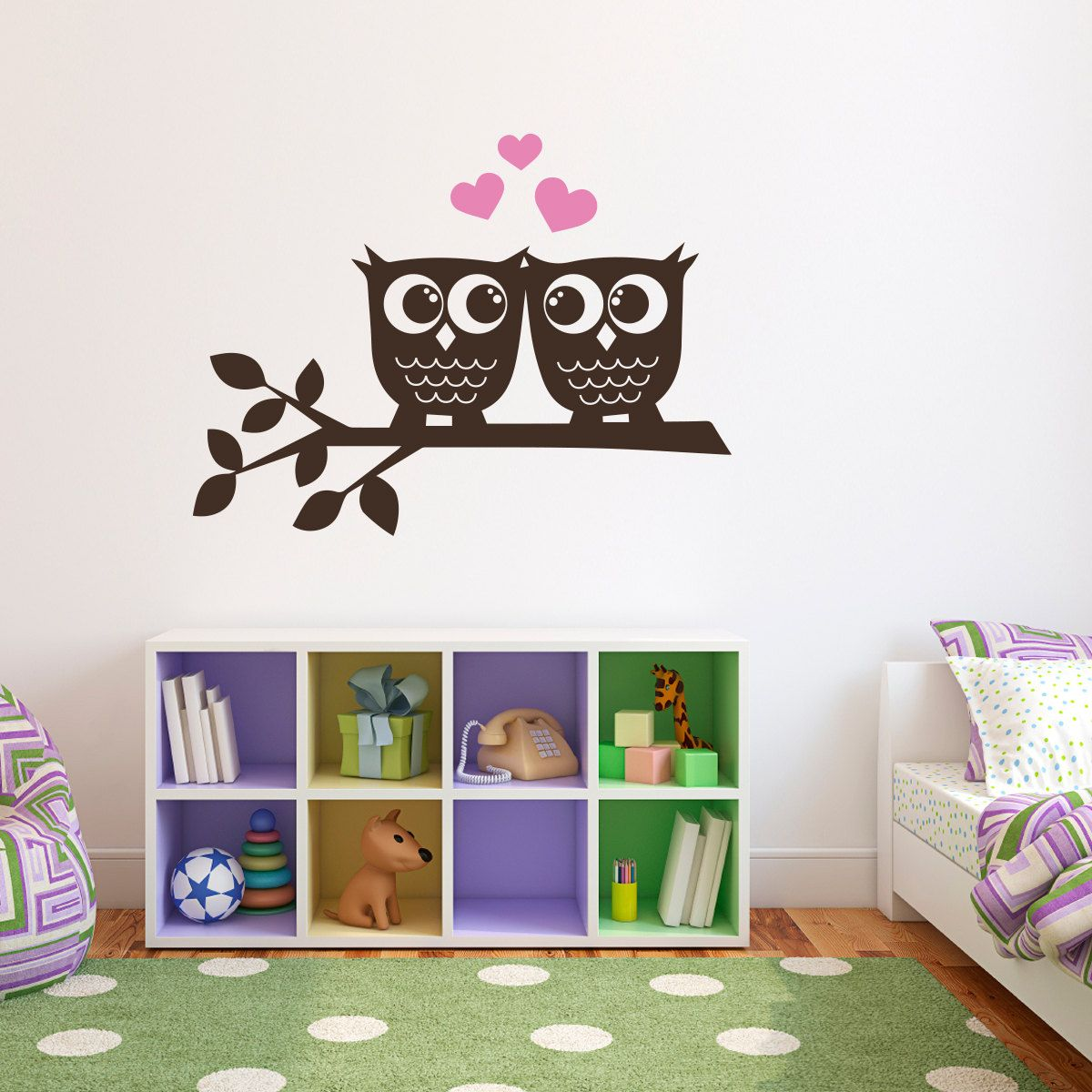 Owls in love wall decal owl wall art large via etsy