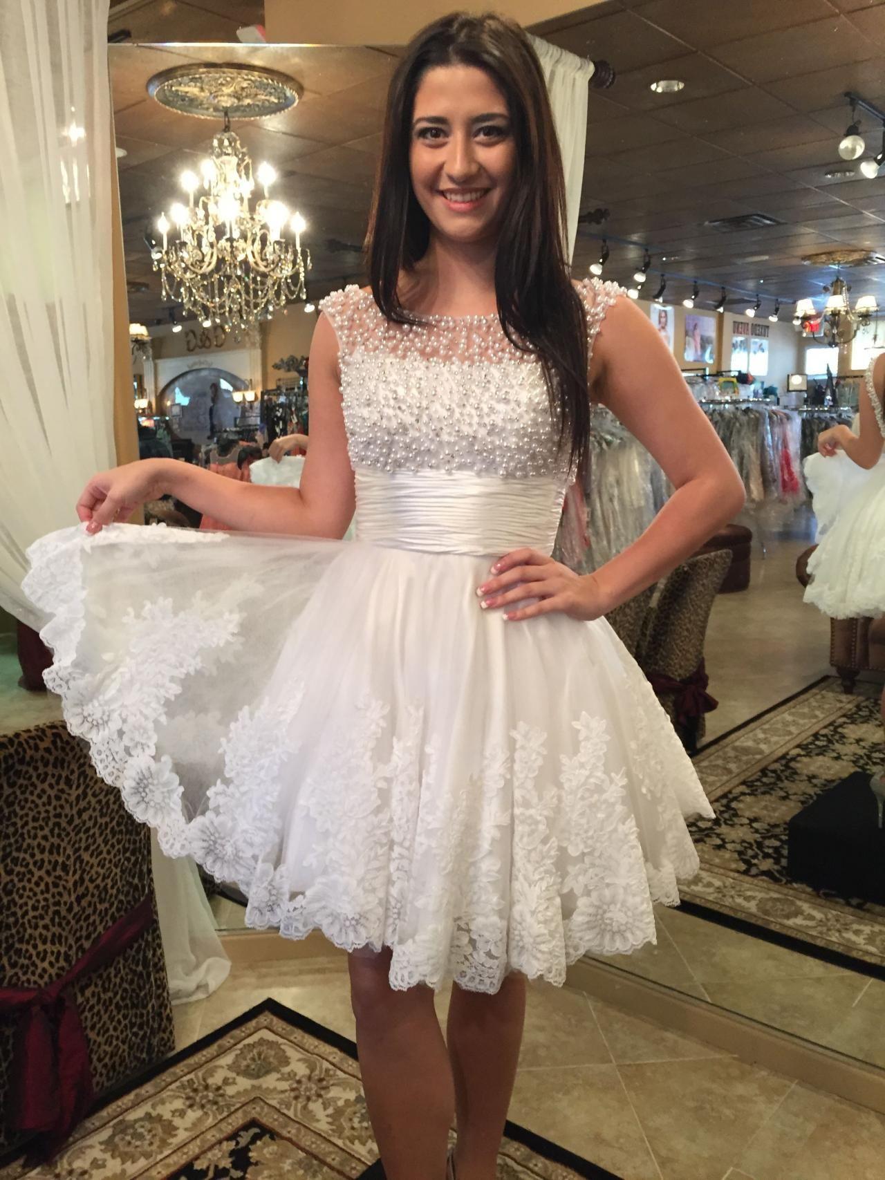 Princess white lace pearls dressshort prom