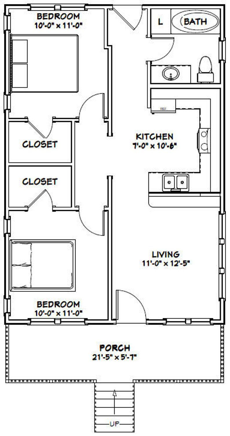 22x32 House 2 Bedroom 1 Bath 704 Sq Ft Pdf Floor Plan Etsy Tiny House Floor Plans Guest House Plans House Floor Plans