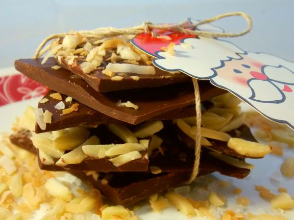Dark Chocolate Holiday Bark – Sea Salt, Toasted Coconut, & Almond
