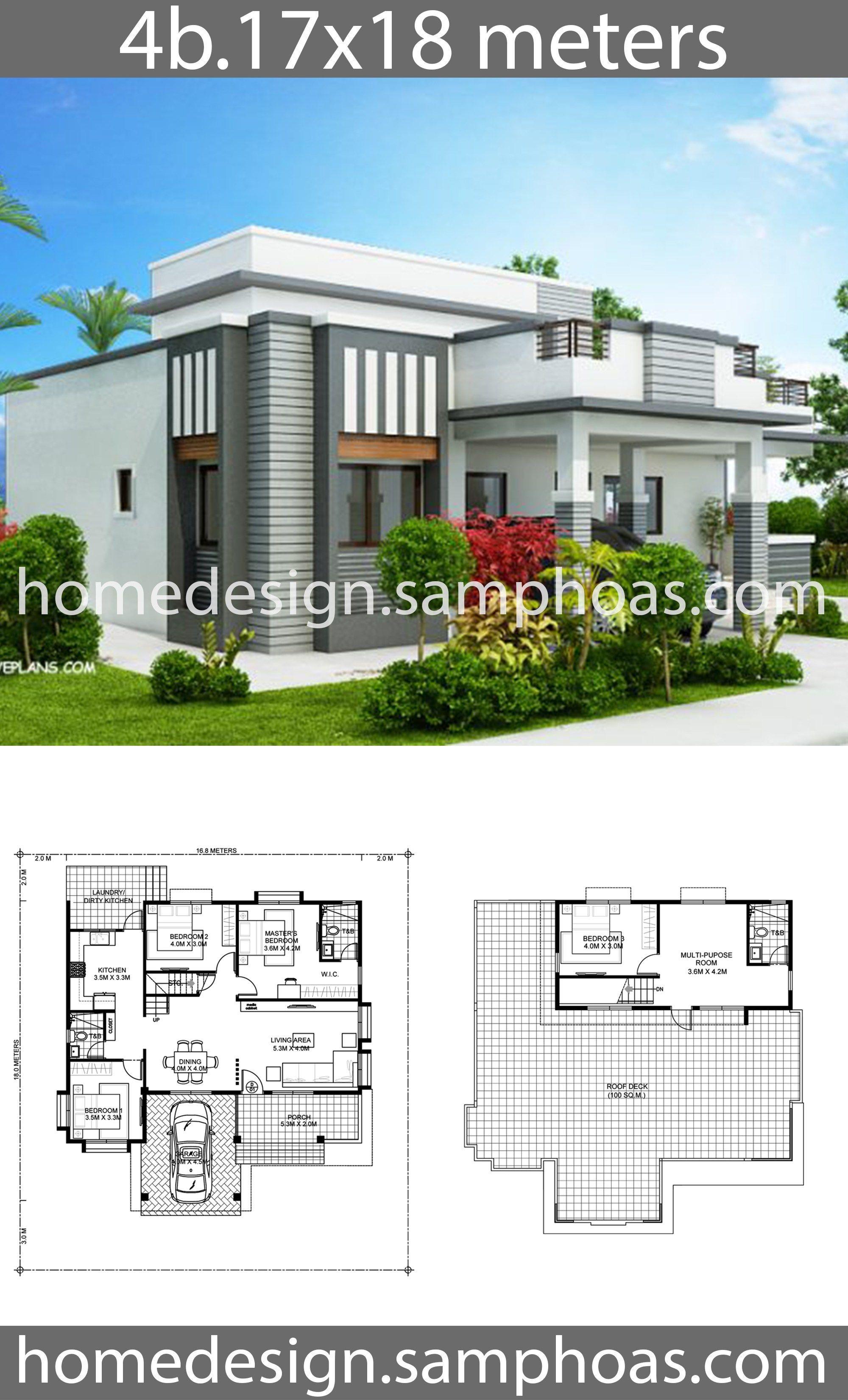 House Plans 17x18m With 4 Bedroom Style Modern Terrace Slaphouse Description Ground Level 3 Bedroo Beautiful House Plans Model House Plan House Plans Mansion