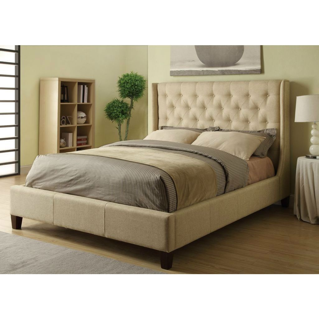Size Tan Color Upholstered Bed with Wingback Button-Tufted Headboard
