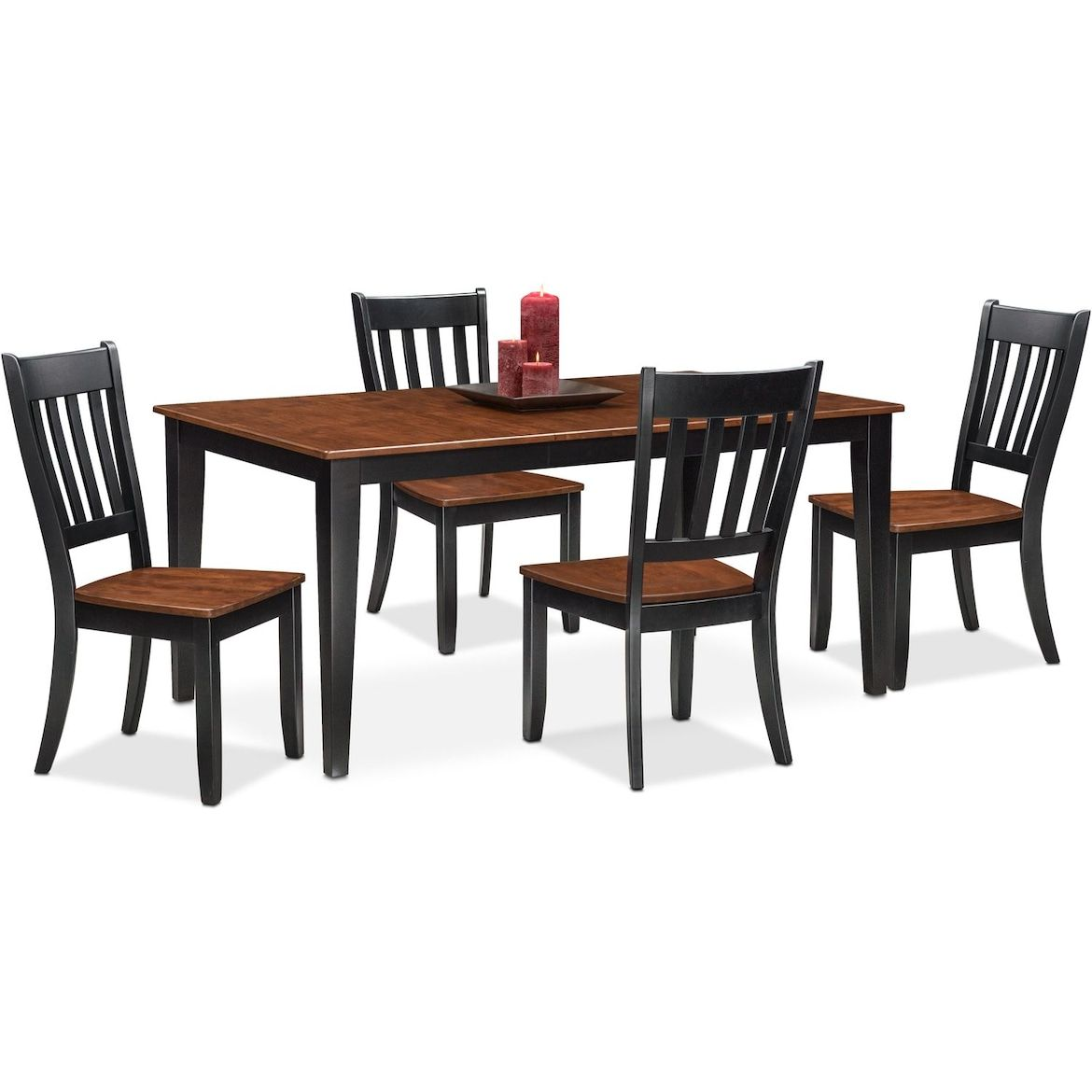 Nantucket Dining Table And 4 Slat Back Dining Chairs Furniture
