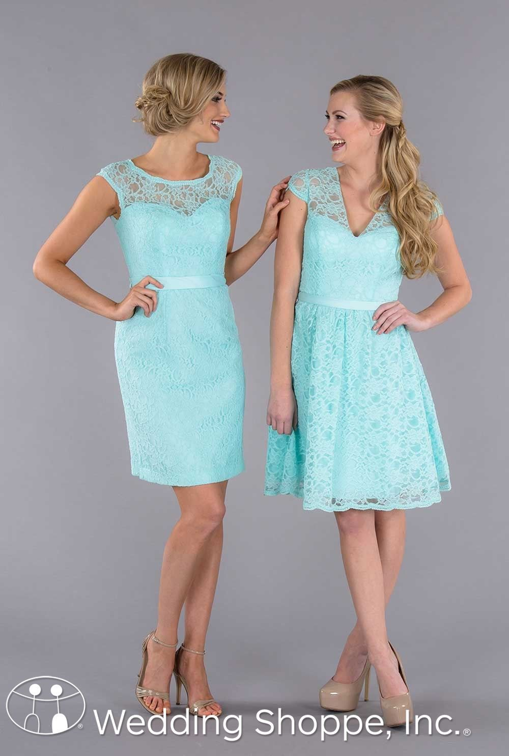 Beautiful lace mix and match bridesmaid dresses in mint wedding