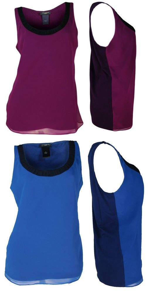 fa177906425f64 Ann Taylor Tank Top Shirt S M L Two Toned Scoop Neck Blue Purple Sleeveless  NEW  AnnTaylor