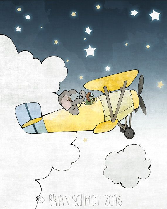 Airplane Nursery Print - Elephant Kids Room Art, Green Turtle, Stars and Clouds #elephantitems