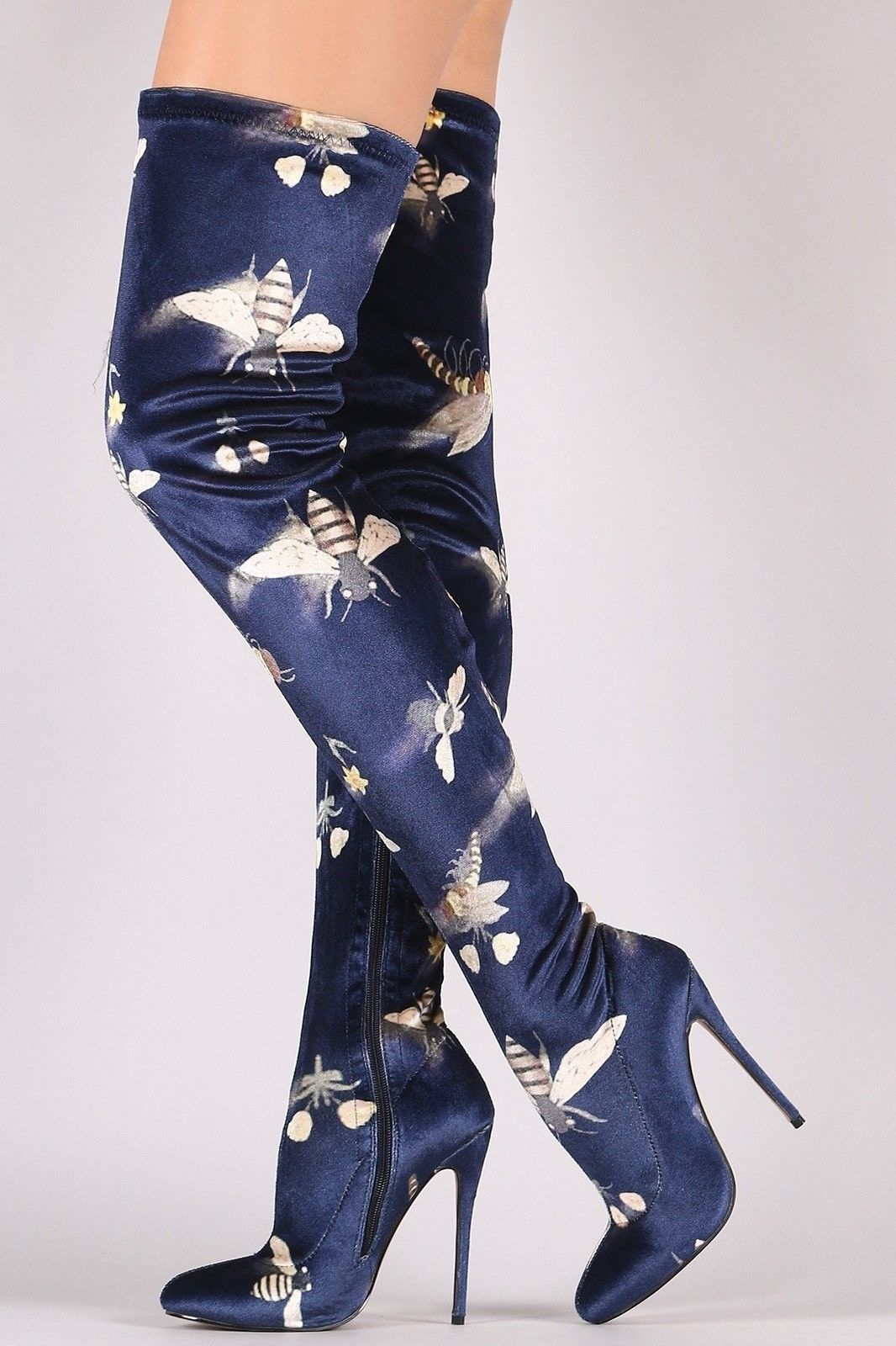 fe4c9d086978 Joey Pointy Toe Velvet Over Knee Thigh High Heel Dragonfly Bees Boot Navy