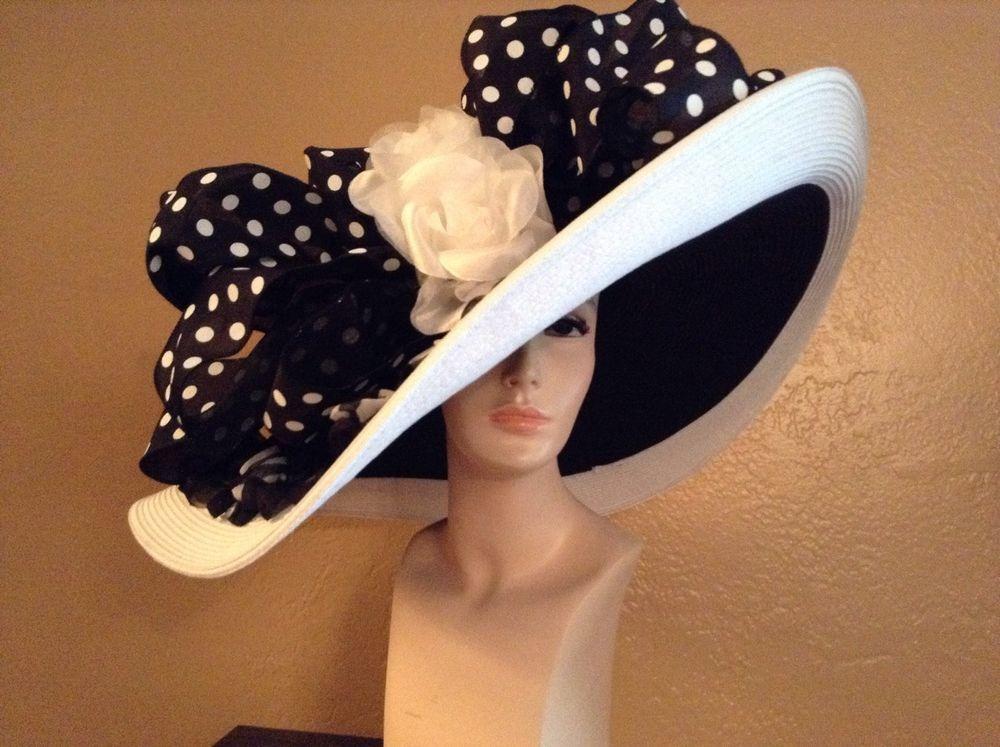 Kentucky Derby Extra Wide Brim Wedding Church Black White Hat #HatsWithElegance #WideBrim