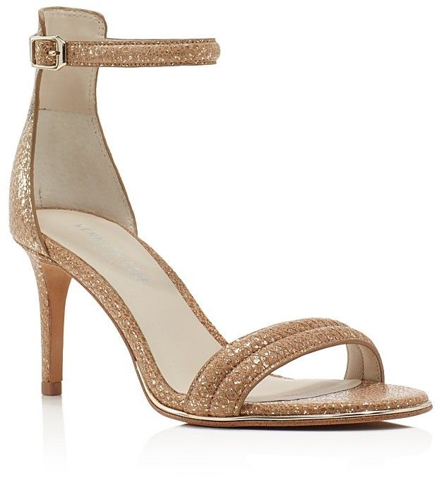 Kenneth Cole Mallory Metallic Snake-Embossed Ankle Strap Sandals