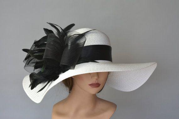 52a79fcc Off White Black Church Wedding Hat by BridalWorldAccessory on Etsy ...