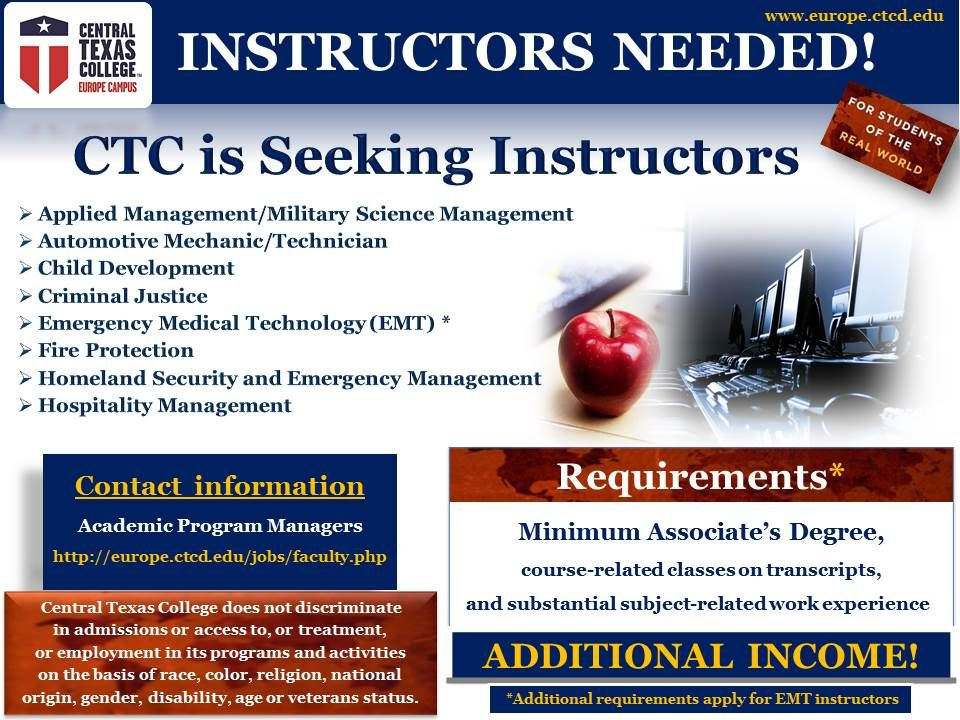 Central texas college ctc is seeking instructors