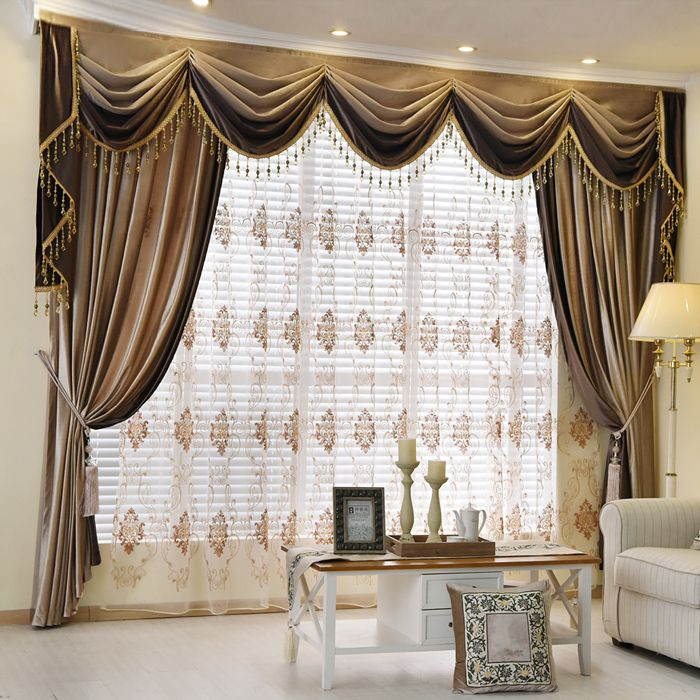 New Arrival Denali Brown Plain Waterfall And Swag Valance And Sheers Custom Made Chenille Velvet Curtains Contemporary Curtains Curtains Living Room Curtains