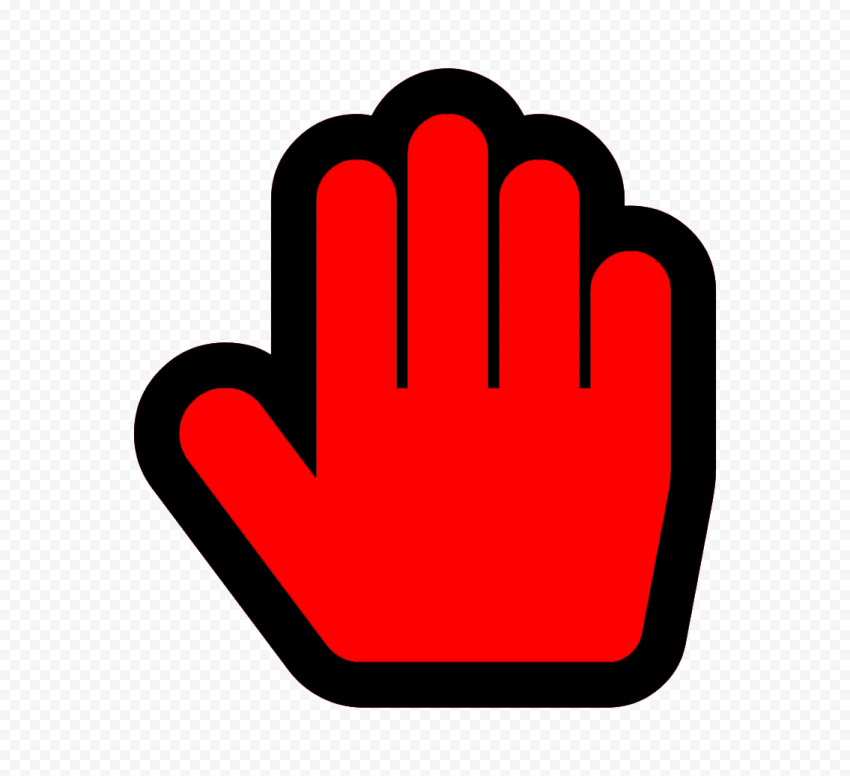 Hd Stop Hand Outline Black And Red Silhouette Icon Symbol Png Hand Outline Black And Red Symbols