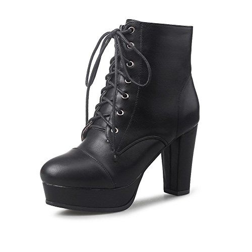 Women's Round Closed Toe Low-Top High-Heels Solid Pu Boots