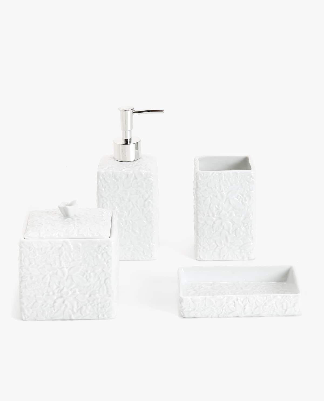 Set De Bain Ceramique Floral White Bathroom Accessories Set Bathroom Accessories White Bathroom Accessories