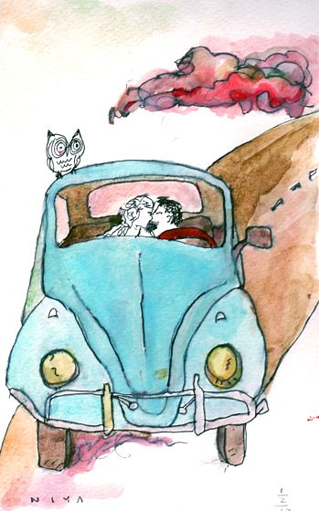 Bugs & Kisses watercolor by Niya Christine. Copyright