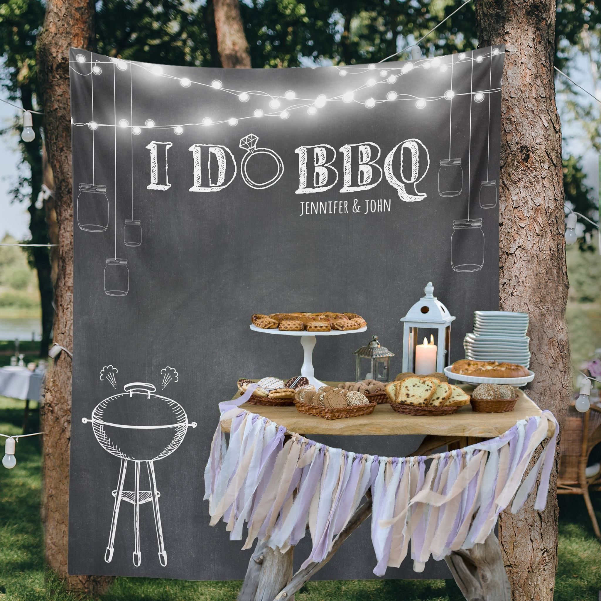 Custom Wedding Tapestries for Dessert Backdrops and Booths