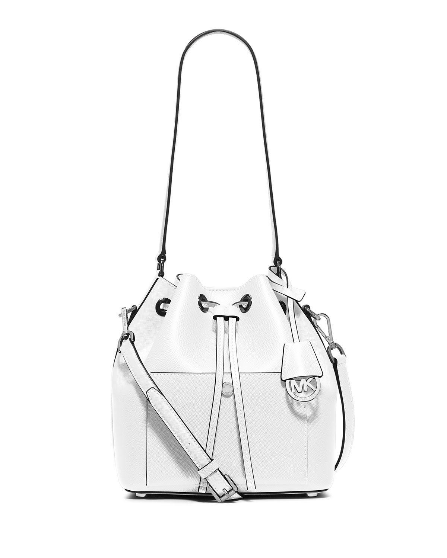 b7c7bebfcd37f0 MICHAEL Michael Kors Greenwich Medium Bucket Bag, Optic White/Navy ...