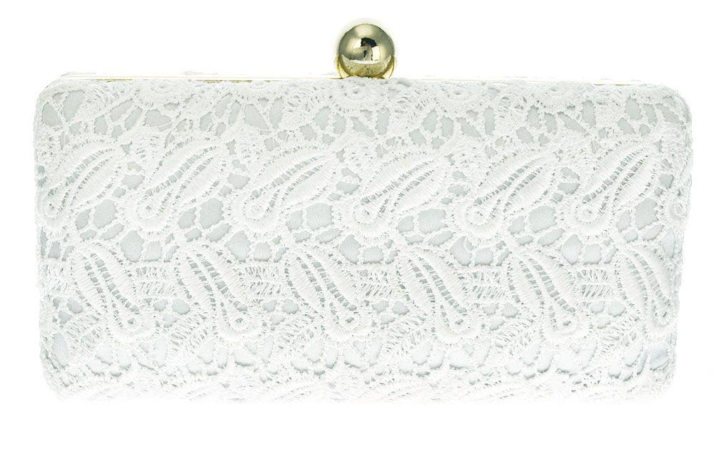 dbc5b48c6 Clutch Branca Renda. Bolsa de festa em tecido rendado na cor branca e  detalhes dourados.