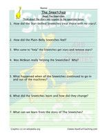 Sneetches Reading Comprehension Worksheet: Read Sneetches by Dr