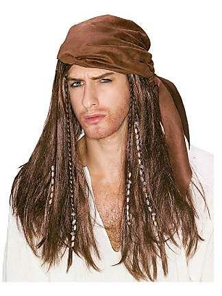 Karibian Piraatti peruukki. Pitkä, keskiruskea merirosvon peruukki.