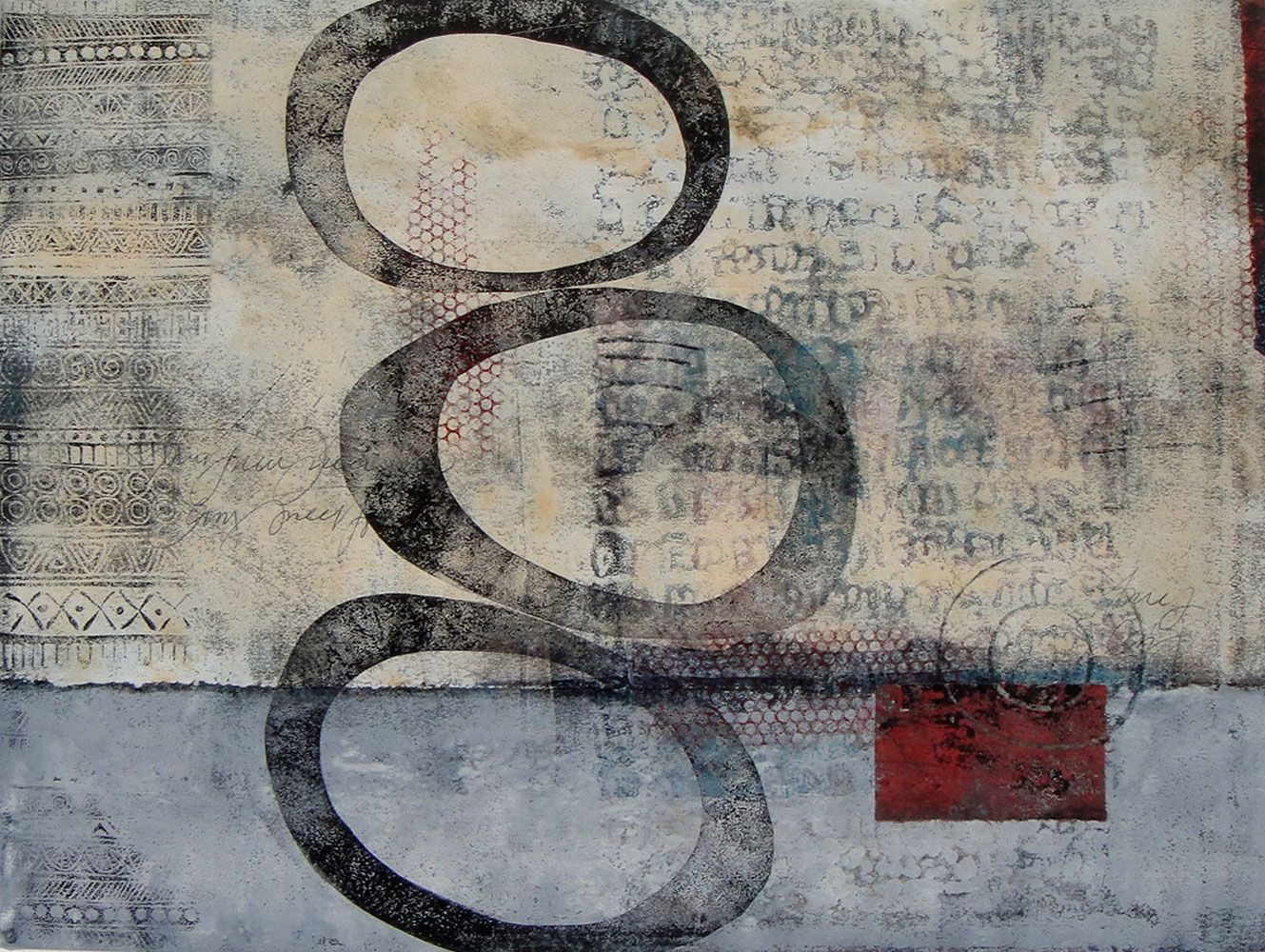 A Theme on Variation, by Anne Moore, monotype with chine colle, 18\