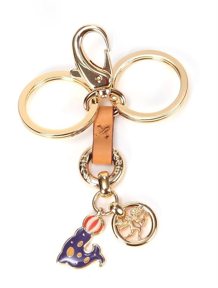 Keyrings - gold metal and leather, with enamelled angel pendant $78.00