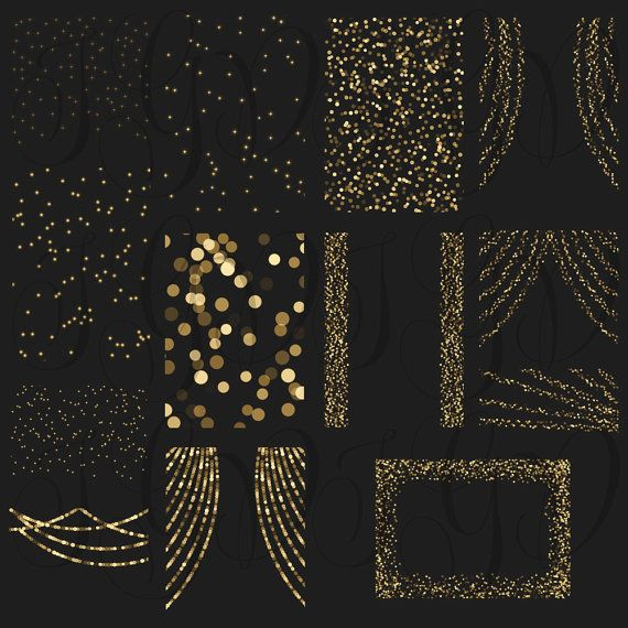 Gold Bokeh String Lights Digital Clipart Overlay By ItGirlDigital
