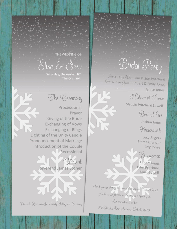 diy printable elegant winter wedding program snowflakes wedding