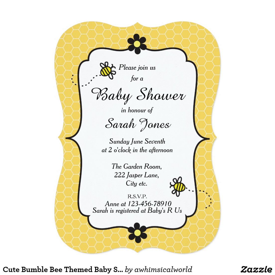 Cute Bumble Bee Themed Baby Shower Invitation #beetheme #babyshower ...