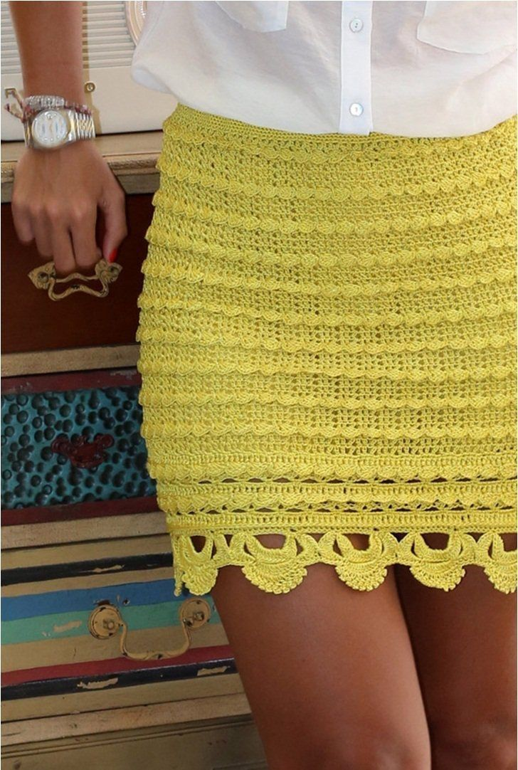 5c67bc4bcf Crochet beautiful and feminine yellow skirt. Free patterns for crochet  yellow skirt