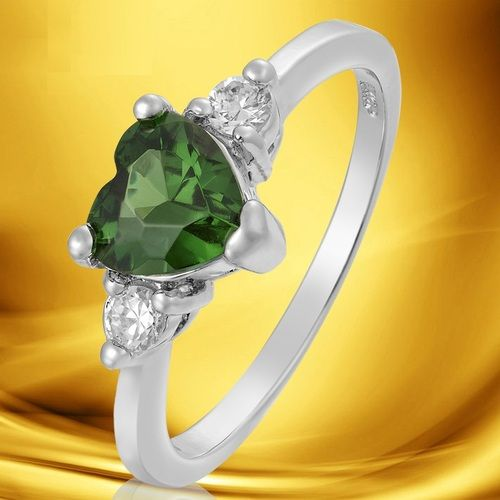 'Emerald Heart White Gold Plated Ring Size 8' is going up for auction at  8am Wed, May 22 with a starting bid of $1.