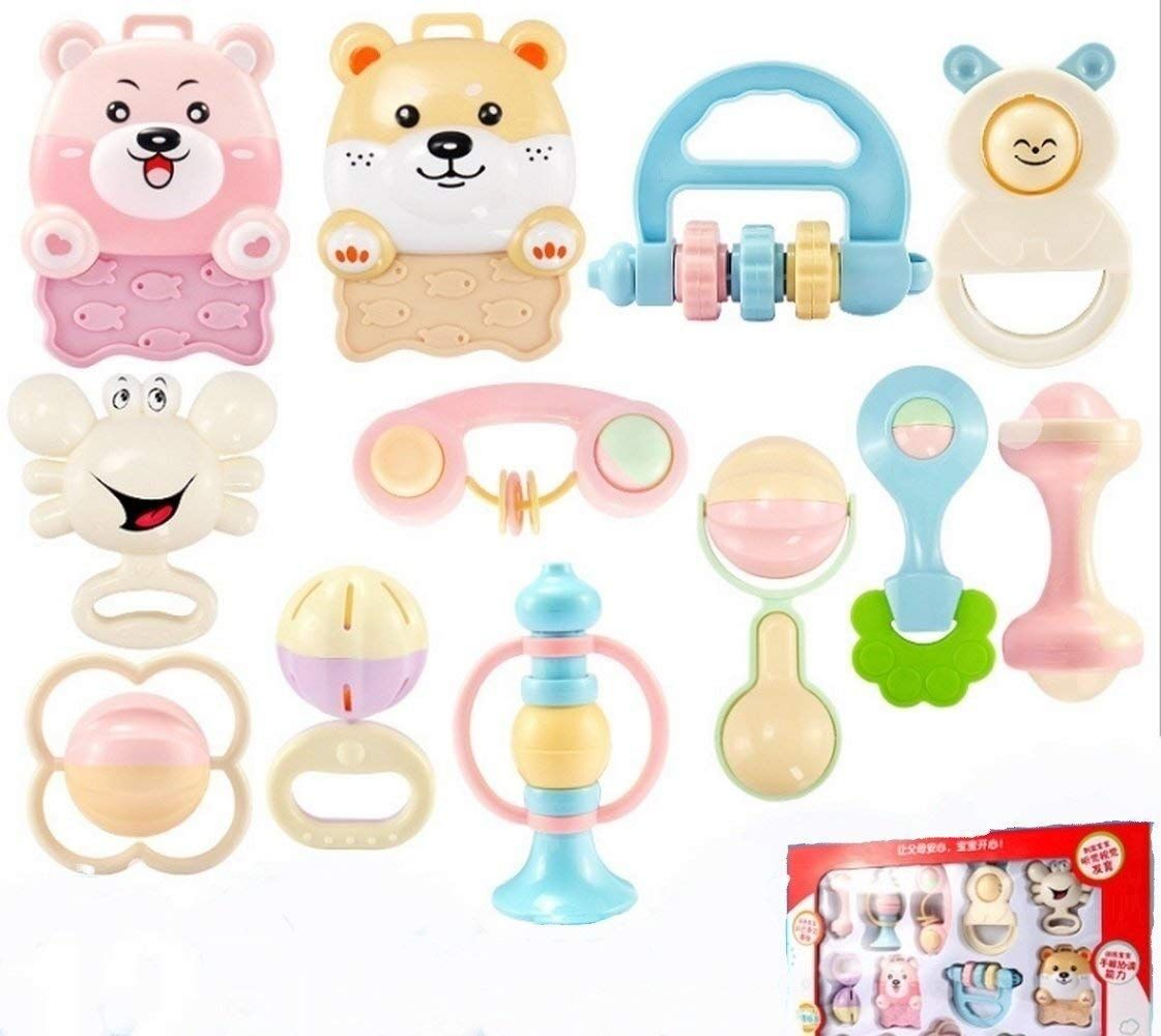 Amazon pcs baby first rattle teether toy set newborn kids