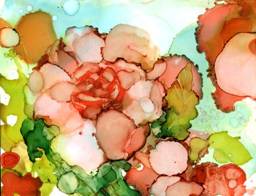 Peace Roses in Peach 3 - print of original alcohol ink painting by artist Sarah Hair Olson  Check out this art on etsy!
