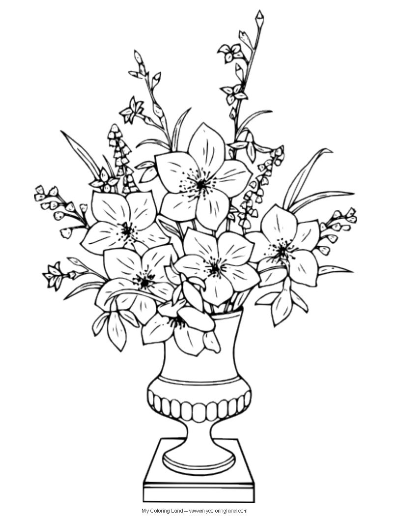 Coloring pages of flower pots - Advanced Coloring Pages For Artists Bing Images