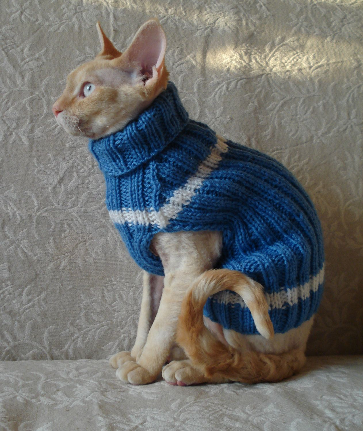 Handmade Cat Small Dog Jumper Sweater Coat Wool turtle-neck Blue ...