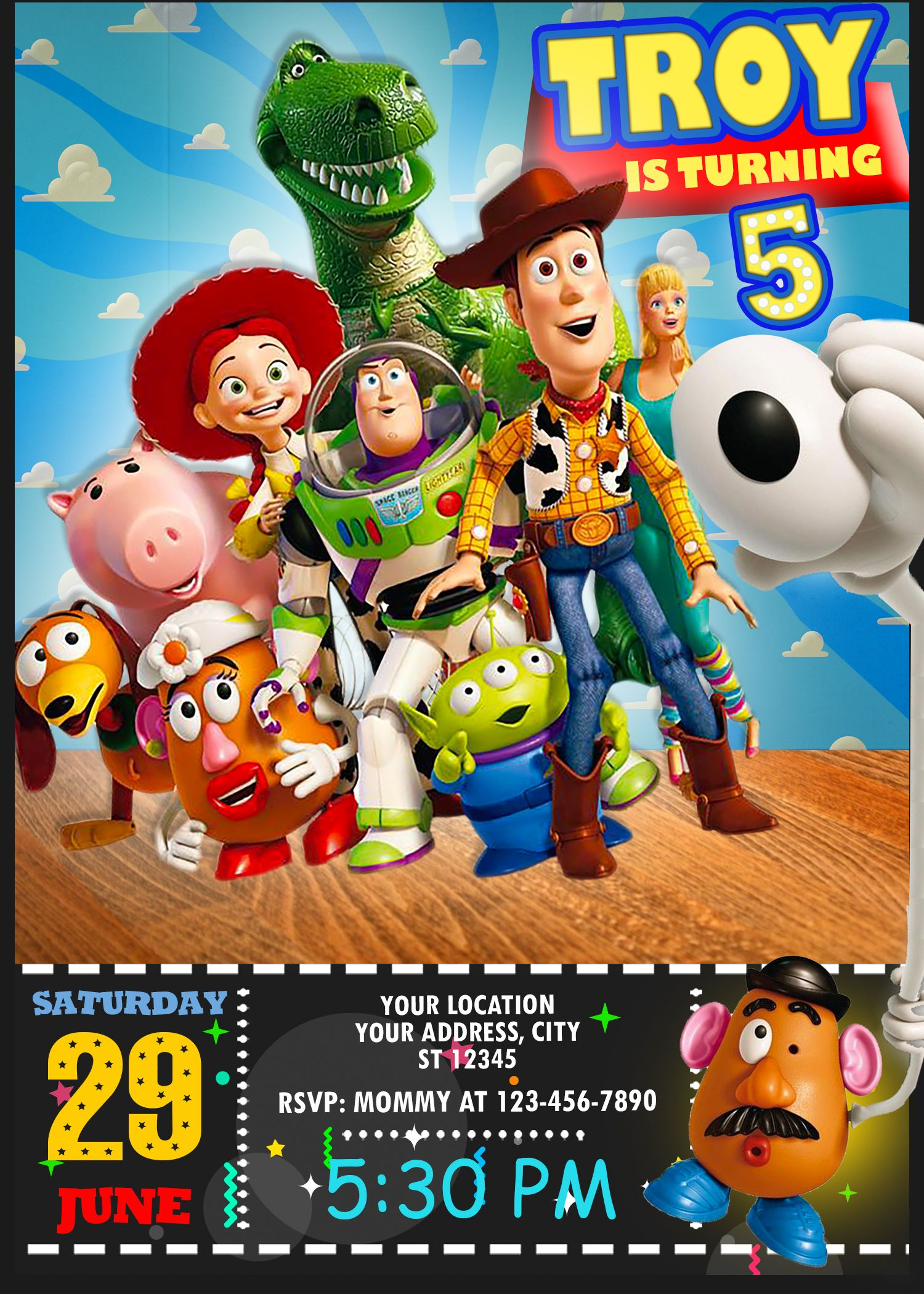 Toy Story 4 Birthday Invitation In 2019 Oscarsitosroom