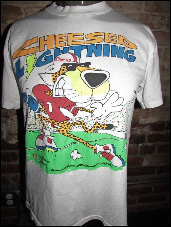 540a577b Vintage 90's Cheetos Chester Cheetah Cheesed Lightning Shirt by  RackRaidersVintage