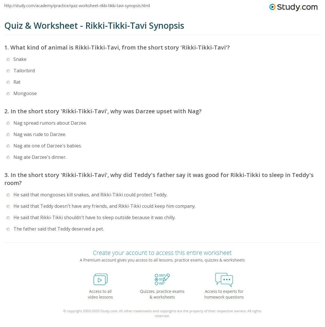 Rikki Tikki Tavi Worksheets Answers Quiz Worksheet Rikki Tikki Tavi Synopsis Translating Algebraic Expressions Worksheets Answers