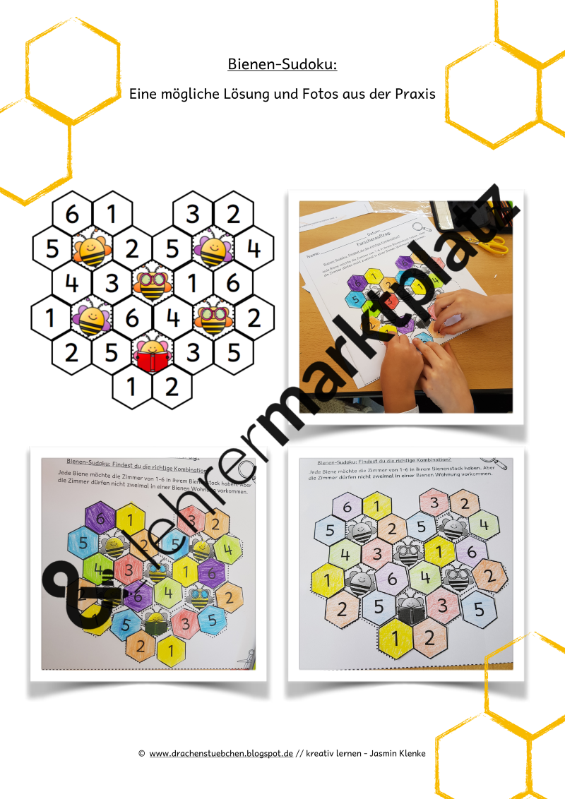 Bienen Sudoku – Lehreralltag, Mathematik   Arbeitsblätter ...
