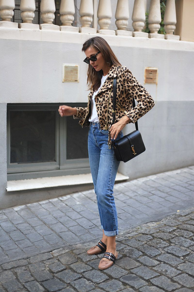 51fb3390199 Lady Addict. White t-shirt+high waist jeans+blush lace up Miu Miu ballerinas+leopard  print perfecto jacket+black shoulder bag+sunglasses. Fall Outfit 2016